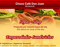 Menú de Almuerzos para Choco Café Don Juan