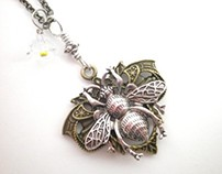 "Bee Art Nouveau ""Sarah Bee"" Pendant Necklace"