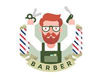 Barber Flat Illustration Free Vector