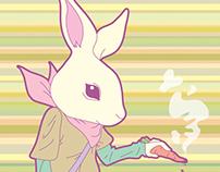 Rabbit smokes a carrot cigar