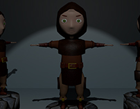 Girl Warrior Low Poly Characters  In Blender