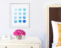 Calming Blue Watercolor Circles Fine Art Print