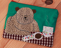 Collage zipped bag with a lonely bear and a soup