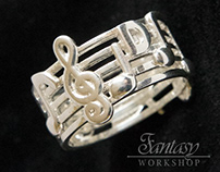 Musical notes silver ring