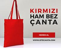 Kırmızı Ham Bez Çanta Toptam - Red Cotton Bag