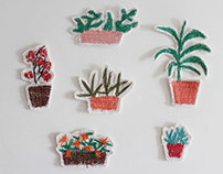 Set of potted plants and animals to compose scenarios