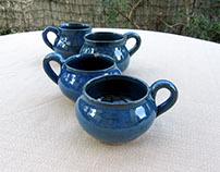 Deep blue coffee cups