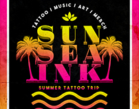 Sun Sea Ink Poster