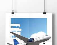 Airplane Illustration Poster