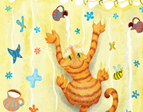 Cat on a dream curtain - a children's book illustration