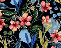 Winter tropical floral print