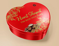 Heart Shaped Tin Box Mockups