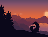 Sunset with fox