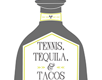 Tennis, Tequilas & Tacos illustration & event logo