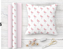 Fabric Rolls and Pillow Set