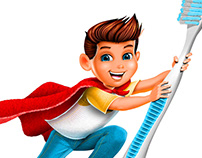 """Toothbrush Boy"" toothpaste superhero brand mascot"