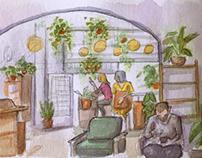 #Inktober 5 - coffee shop watercolor