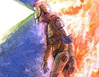 """Burningman"" - Watercolor"