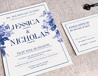 China Blue Wedding Invitation