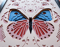 Butterfly, cut and stacked paper