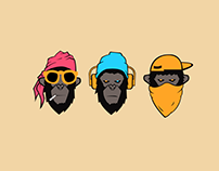 Three Wise Monkeys 2018 Concept Illustration.