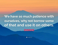 Patience with ourselves ,daily meditations.