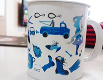 a mug cup and desk pad with my illustration