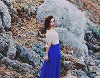 her blue navy skirt