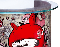 ASTRO X TRASHBONBON (paintings on concrete furniture)