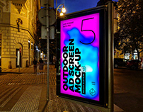 Outdoor Night Advertising Screen Mock-Ups 4