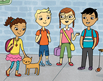 kids at the bus stop