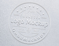 Free Premium Embossed Logo Mockup PSD