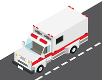 Ambulance truck in Isometric left view