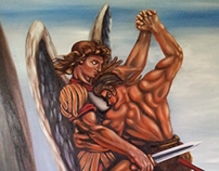 St. Michael Archangel fighting the devil by pallominy