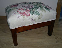 Small Oak Upholstered Footstool