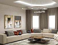 Интерьер гостиной в частном доме, 100 м²