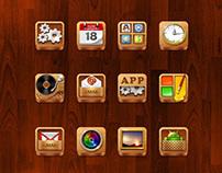 The QQ phone desktop theme design - Wood