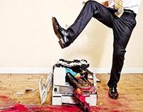 Mike Dazé destroying printer