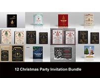 12 Christmas Invitation flyer Bundle