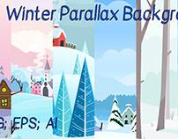 2d vector Winter parallax Backgrounds