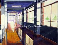 Ghibli style animation background