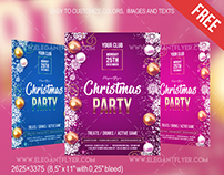 Free Christmas party – Flyer PSD Template + Facebook Co