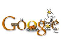 GOOGLE DOODLE Thanksgiving 2009 w/Snoopy (+ alt doodle)