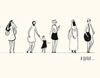 A queue | women queue illustration