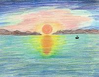 Lone Sailboat at Sunset