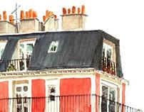 Paris Hotel Watercolor