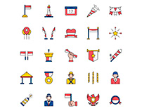 Indonesia Independence Day Icons Set
