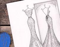 'Louise' - Wedding Dress Illustration