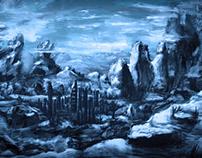 Blaue Berglandschaft, digital painting/iPad Art