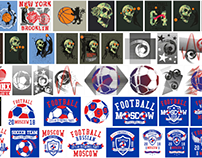 College sports graphic tees design vector art